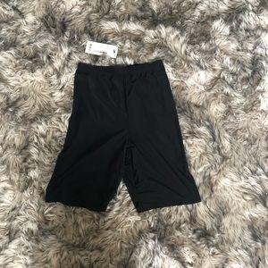 Boohoo Shorts - Black shiny biker shorts
